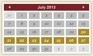 Events Calendar - July, 2013