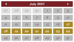 July 2021 Events Calendar