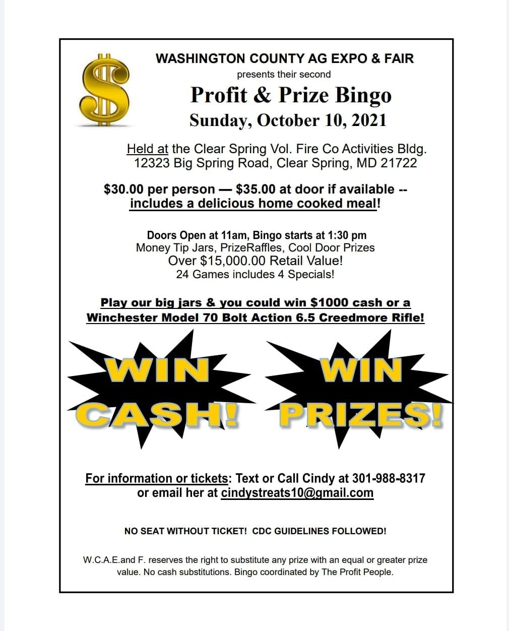 Fall Bingo Fundraiser - Oct. 10 2021